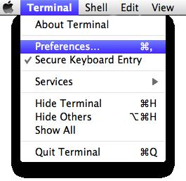 Menu: Terminal: Preferences